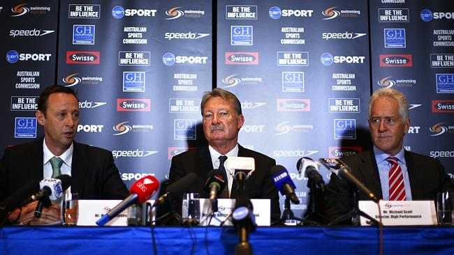 Swimming Australia officials Mark Anderson, John Bertrand and Michael Scott are making plans. Source: News Limited