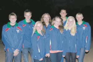 The Namibian swimming team are from left Lushano Lamprecht, Nicolai Flemming, Kiara Schatz, Antonia (Toni) Roth, Zanré Oberholzer, Alexander Skinner, Sonja Adelaar and Molina Smalley.