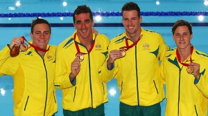 From left, Tommaso d'Orsogna, Matt Abood, James Magnussen and Cameron McEvoy. (Getty Images)