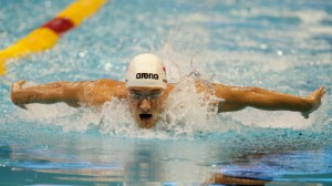 Poland's Pawel Korzeniowski competes in a men's 200m butterfly first round heat at the LEN Swimming European Championships in Berlin, Germany, Wednesday, Aug. 20, 2014. (AP / Gero Breloer)