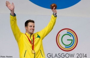 James Magnussen celebrates after winning the gold medal in men's 100m Freestyle final at the 2014 Commonwealth Games in Glasgow, Scotland (Reuters)