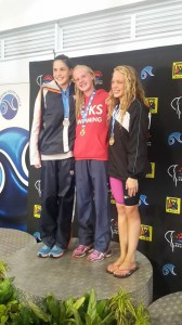 Rebecca Meder, Dune Coetzee, Nikka van der Linde on the podium 50m fly (facebook)