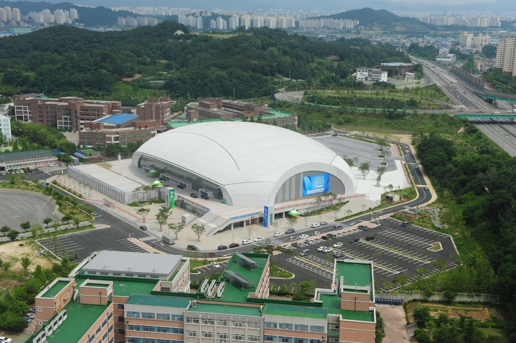 An aerial photo of the Nambu University International Aquatics Center, which will serve as the venue for swimming and diving during the 2015 World University Games in Gwangju, South Korea. (Yonhap/European Pressphoto Agency)