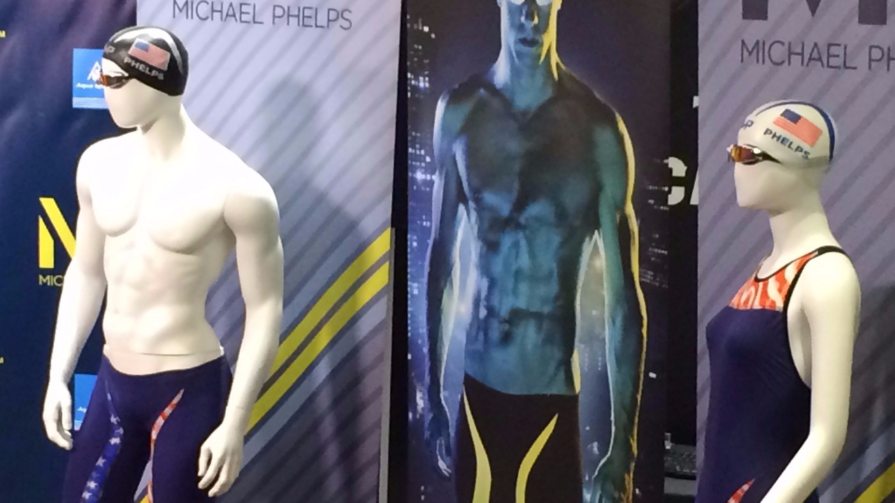 Mannequins model new Michael Phelps swimsuits at Arizona State's Mona Plummer Aquatic Complex April18, 2016. (Photo: Matt Mauro/12 News)