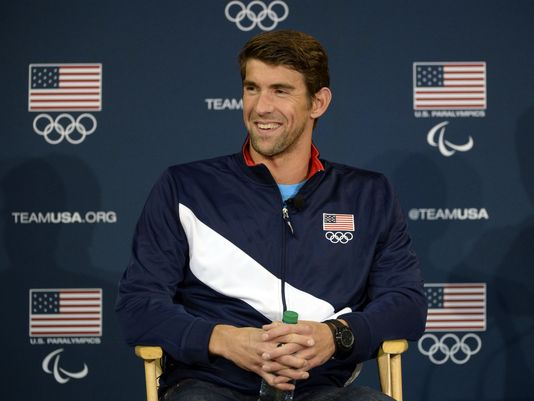 Michael Phelps speaks to the media at a press conference during the 2016 Team USA Media Summit on March 9, 2016.(USA TODAY Sports)