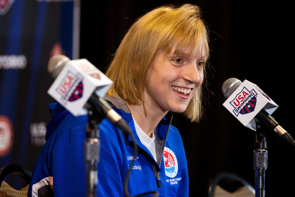 """""""Katie Ledecky can do whatever she wants,"""" one teammate says admiringly of the swimmer expected to make a splash this week at the Swim Trials. (Ryan Soderlin)"""