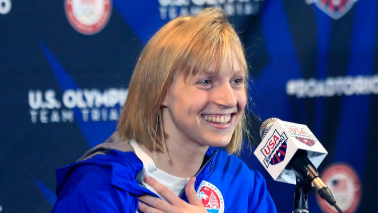 Katie Ledecky speaks at a news conference during U.S. Olympic team trials on June 24. (Orlin Wagner / Associated Press)