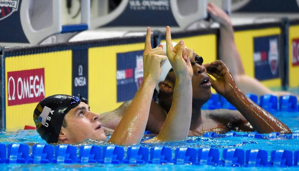 Michael Andrew (left) reacted after winning his preliminary heat in the men's 100-meter breaststroke at the U.S. Olympic trials Sunday. Mark J. Terrill The Associated Press Read more here: http://www.kansascity.com/sports/spt-columns-blogs/vahe-gregorian/article86145847.html#storylink=cpy