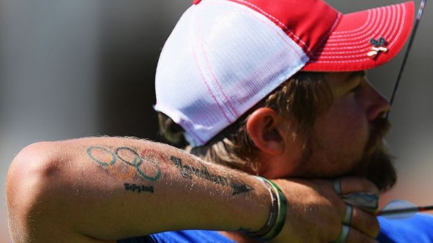 American archer Brady Ellison has tattoos commemorating the Beijing and London Olympic games on his right forearm (Getty Images)