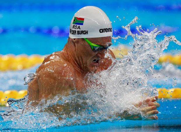 RIO DE JANEIRO, BRAZIL - AUGUST 06:  Cameron van der Burgh of South Africa competes in the Men's 100m Breaststroke heat 5 on Day 1 of the Rio 2016 Olympic Games at the Olympic Aquatics Stadium on August 6, 2016 in Rio de Janeiro, Brazil.  (Photo by Adam Pretty/Getty Images)
