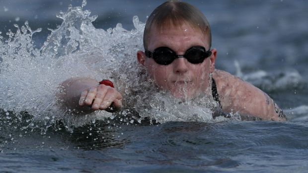 Jarrod Poort puts everything on the line in the 10km marathon swim in Rio. (AP)
