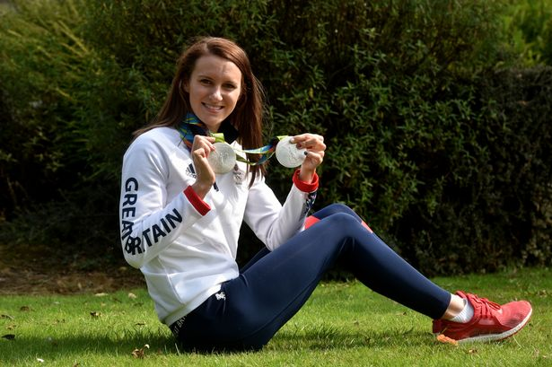 azz Carlin shows off her Olympic medals as part of I Am Team GB celebrations in Cardiff