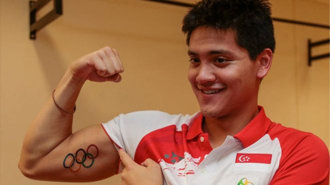 Joseph Schooling won Singapore's first ever gold medal in the 100m butterfly (EPA)