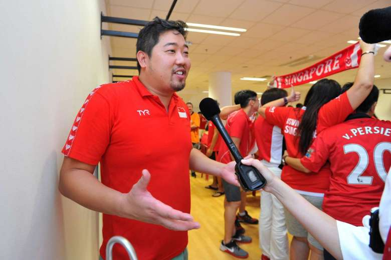 Assistant national swim coach Gary Tan speaking to media at the OCBC Aquatic Centre during a screening of Joseph Schooling's 100m butterfly race at the Rio Olympics on Aug 13, 2016.ST PHOTO: LIM YAOHUI