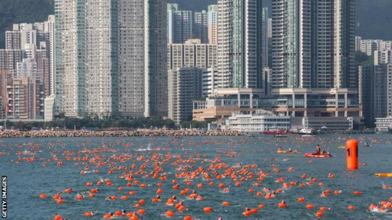 The Hong Kong Harbour Race feautured 'racing' and 'leisure' swimmers (Getty Images)