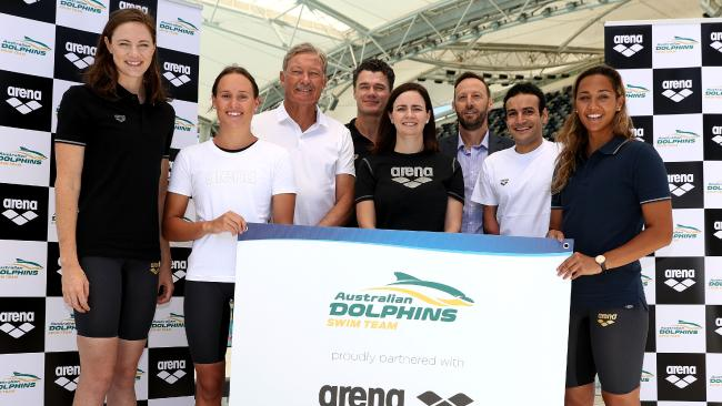 Cate Campbell, left, with Dolphins teammates and officials at the Arena swimwear launch in Melbourne yesterday.