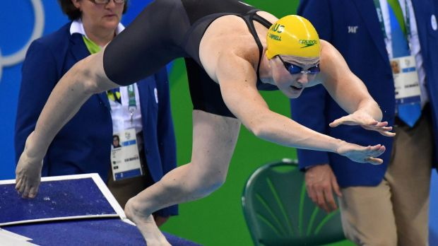 Final straw: Cate Campbell at the start of the 100-metre freestyle final. Photo: Joe Armao