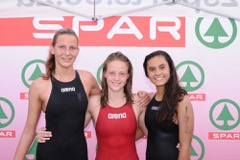 Woodridge pupil Amica de Jager (left) will be one of the favourites for the SPAR River Mile women's title at Cannonville on Sunday. She was runner-up last year in the race won by Jessica Canter (centre) of PEA, with Jessica Beukes third. (Full Stop Communications)