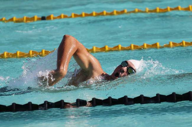 REATHTAKING: Michael Swartz of the Amakhosi Masters Swimming club in the 800m at the Masters champs held in East London yesterday at the Joan Harrison Pool Complex Picture: MICHAEL PINYANA