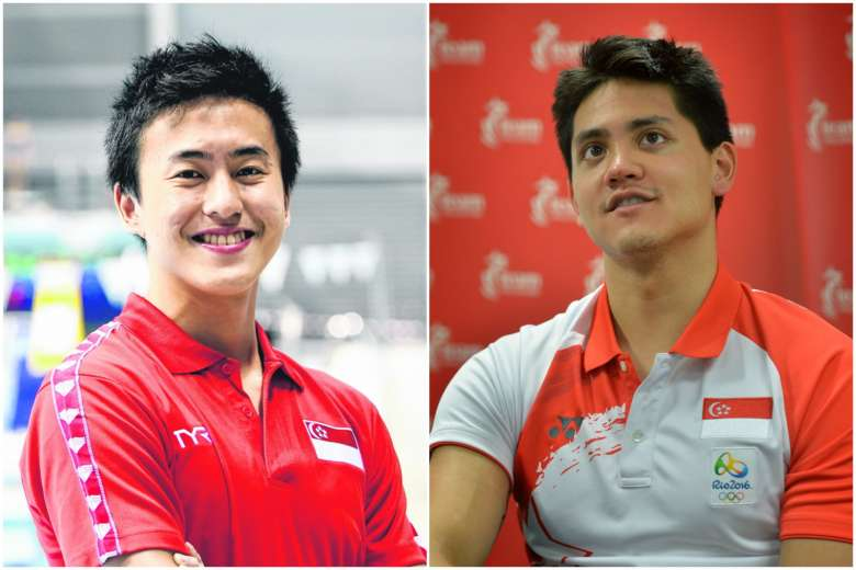 Quah Zheng Wen (left) will go head-to-head with national team-mate and Olympic champion Joseph Schooling at the March 22-25 NCAA Div 1 swimming championships in Indiana.PHOTO: LIANHE ZAOBAO, ST FILE