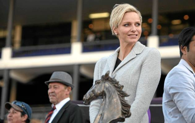BENONI GAL: Princess Charlene teams up with the legend of Empress Club to spread the glamour at Turffontein. (JAMES OATWAY)