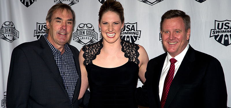 (L-R) USA Swimming Executive Director Chuck Wielgus, Missy Franklin and United States Olympic Committee Chief Executive Officer arrive at the 10th Annual USA Swimming Golden Goggle Awards at the JW Marriott Los Angeles at LA Live on Nov. 24, 2013, in Los Angeles. (USAOC)