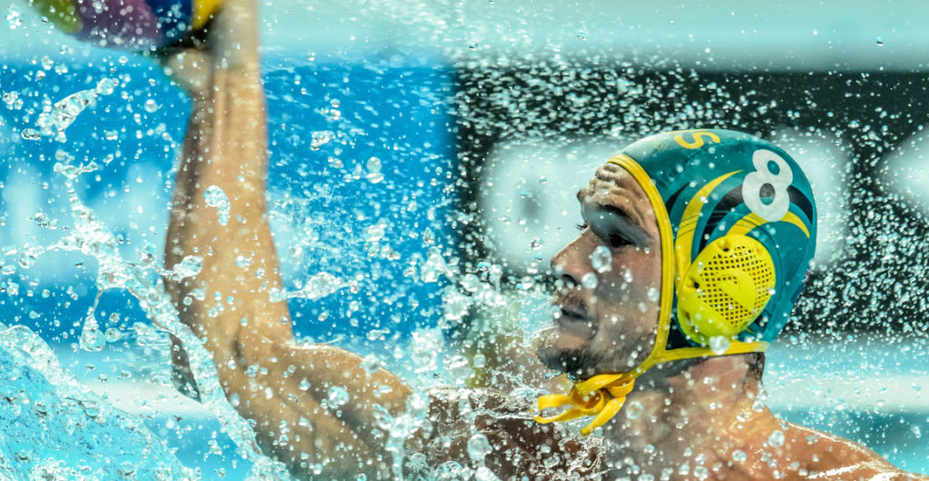 Waterpolo match between men of Greece and Australia during the 16th FINA World Championships 2015 in Kazan