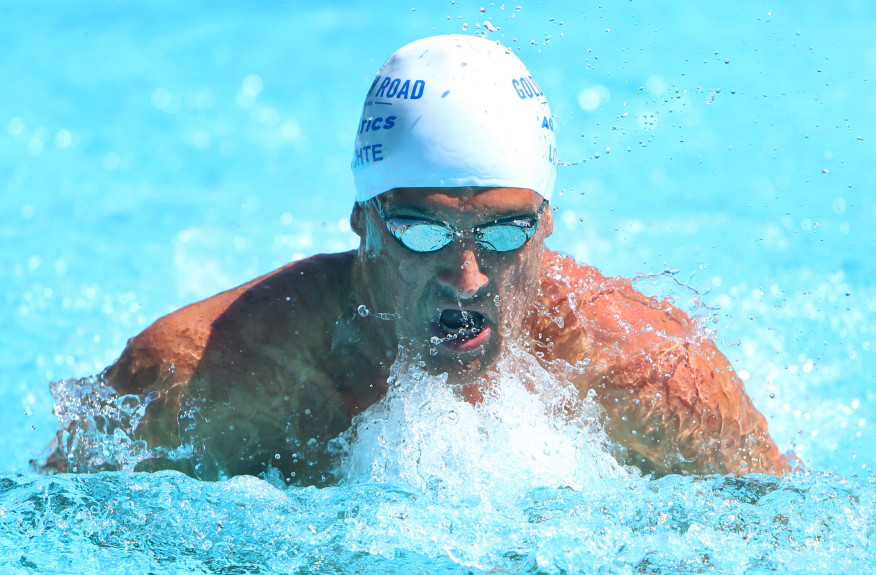 U.S. Olympian Ryan Lochte competes in the 100 breaststroke during the Nationwide U.S. Masters Swimming Spring National Championship at the Riverside Aquatics Complex on Friday, April 28, 2017.  (Stan Lim, The Press-Enterprise/SCNG)