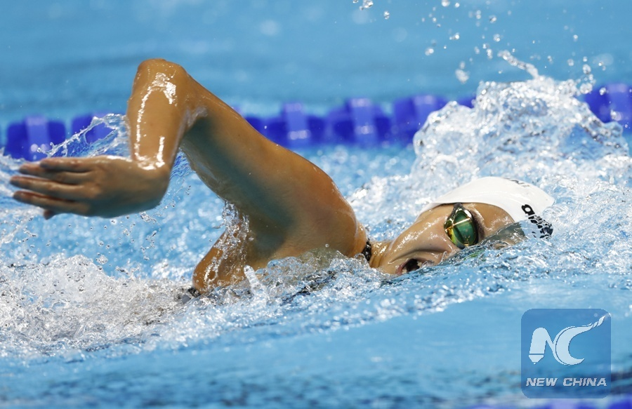 File photo taken on Aug. 10, 2016 shows Yusra Mardini of Refugee Olympic Team competes during the women's 100m freestyle heat of swimming at the 2016 Rio Olympic Games in Rio de Janeiro, Brazil. (Xinhua/Ding Xu)