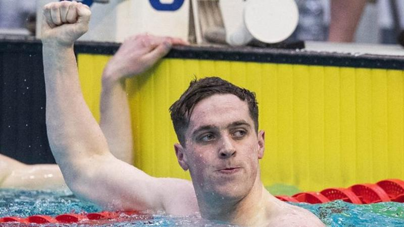 Jordan Sloan celebrates after breaking Ryan Harrison's Irish 200m freestyle record last month