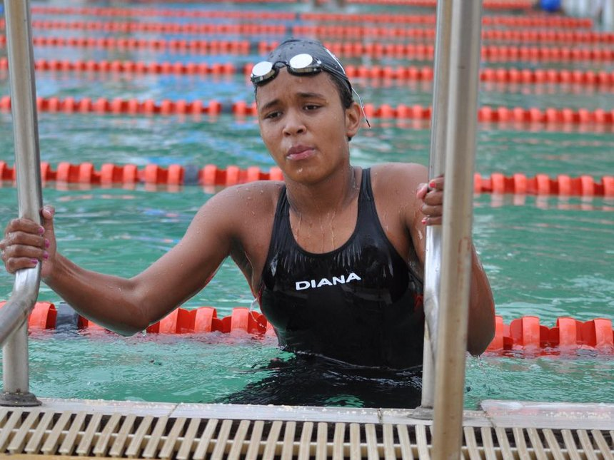 Emily Muteti at a past African Swimming Championship in Nairobi.
