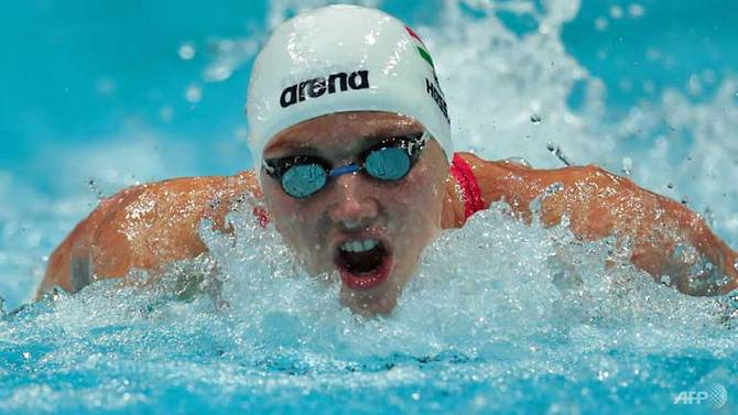 Hungary's Katinka Hosszu competes in the women's 200m Individual Medley final. (FERENC ISZA/AFP)