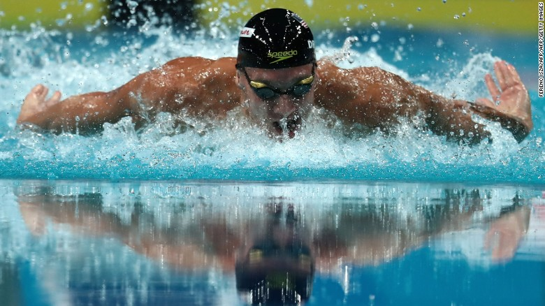 Dressel competes in the men's 100m butterfly final during the World Aquatics Championships in Budapest