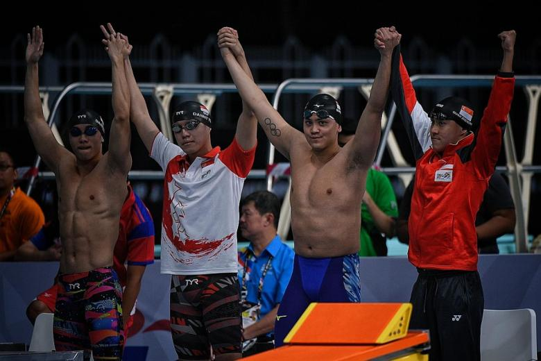 With their SEA Games-winning timing of 3:17.85 last night, Singapore's 4x100m freestyle relay team of Darren Lim, Danny Yeo, Joseph Schooling and Quah Zheng Wen are third-fastest in Asia this year. (THE STRAITS TIMES)