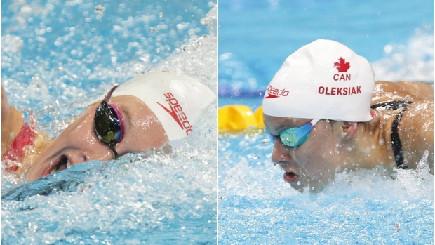 Canada's Taylor Ruck, left, and Penny Oleksiak both live near elite swimming facilities in Toronto's east end. (CBC Sports)