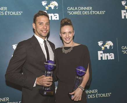 Star swimmers Chad Le Clos (left) and Katinka Hosszu will be in action at the Doha leg of the Swimming World Cup next month. (Gulf Times)