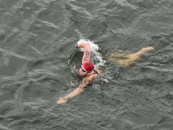 Chantal Liew swimming during the Women's 10km Open Water Swimming race at the SEA Games. Liew finished third to win Bronze with a time of 2:21:30. Photo: Sport Singapore