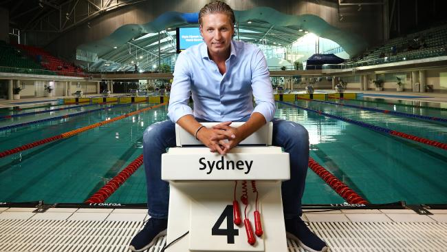 Dutch swimming great Pieter van den Hoogenban poses at the pool where he won two Olympic gold medals. Picture: John Feder.
