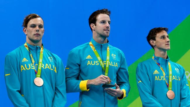 James Magnussen, middle, on the Rio Olympic podium for the 4x100m freestyle relay last year. Picture: Getty Images