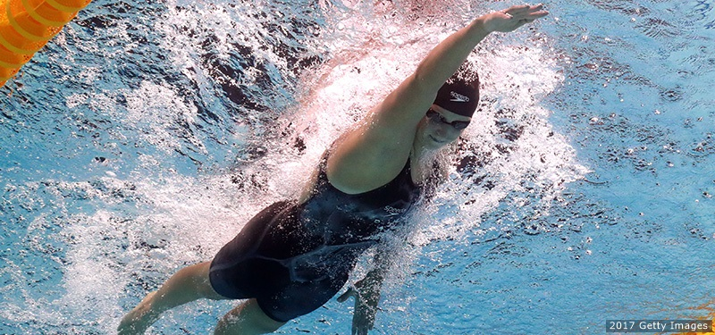 BUDAPEST, HUNGARY - JULY 29:  Katie Ledecky of the United States competes during the Women's 800m Freestyle final on day sixteen of the Budapest 2017 FINA World Championships on July 29, 2017 in Budapest, Hungary.  (Photo by Clive Rose/Getty Images)