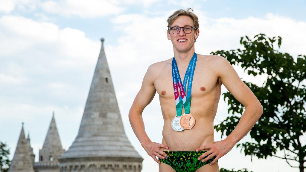 Olympic champion Mack Horton with his silver medal from the 400m freestyle and bronze from the 1500m at this year's world championships in Budapest. Picture: Supplied.