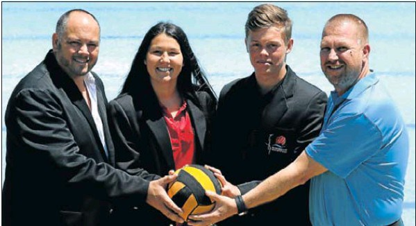 Raring to go for the interprovincial tournament to be hosted in Nelson Mandela Bay next month are, from left, Nelson Mandela Bay water polo chairman Chris King, senior captains Casey McLeavy, of Pearson, and Luke Butler, of Grey High, and Carrick Wealth Management brand director Kieron McRae Picture: Fredlin Adriaan