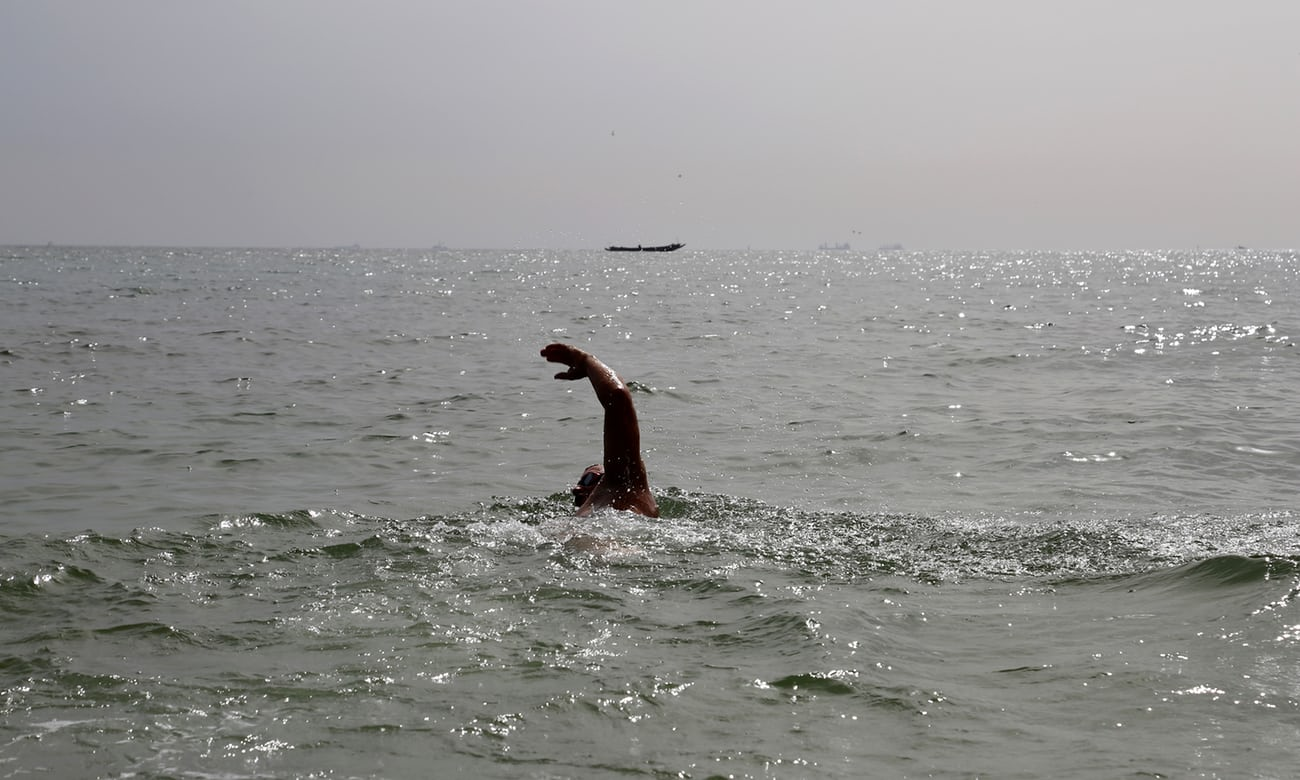 Day one: 13 November 2016, and Ben Hooper sets off from Dakar, Senegal, planning to swim to Natal, Brazil. Photograph: Reuters
