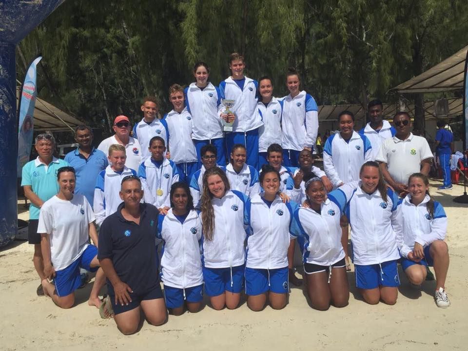 The South African squad claimed the honors at the 1st CANA Zone IV Junior Open Water Swimming Championships in Mauritius - Facebook