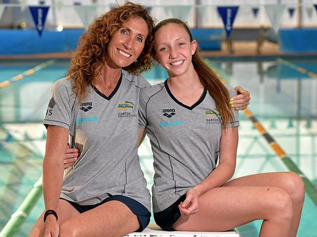 Lani Pallister is off to the World Junior Swimming Championships in the US.Lani is pictured with her coach and mother former Olympic swimmer Janelle Pallister.