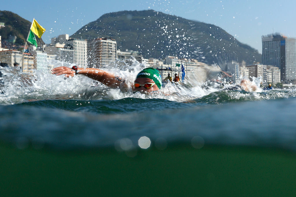 RIO DE JANEIRO, BRAZIL - AUGUST 15:  Michelle Weber of South Africa competes in the Women's 10km Marathon Swimming on day 10 of the Rio 2016 Olympic Games at Fort Copacabana on August 15, 2016 in Rio de Janeiro, Brazil.  (Photo by Adam Pretty/Getty Images)