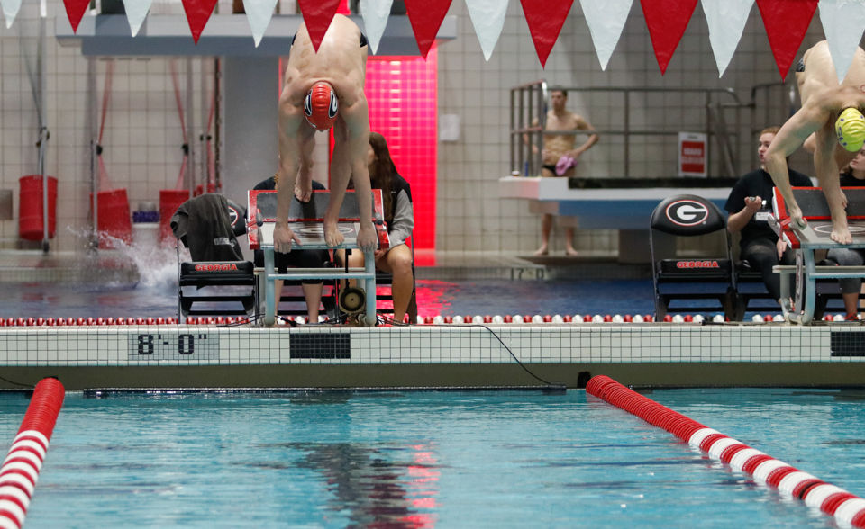 UGA competes against LSU during the swimming and diving meet at the Ramsey Student Center Gabrielsen Natatorium in Athens, Georgia, on Saturday, January 13, 2018. (Photo/Chamberlain Smith, chamberlainlockett.com)
