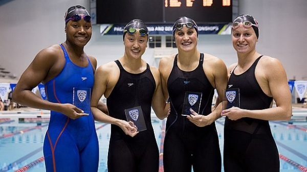 The record-setting 400 medley relay (l to r) Simone Manuel, Janet Hu, Kim Williams and SHP grad Ally Howe. Photo courtesy of Stanford Athletics.